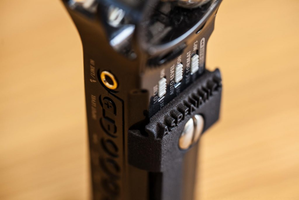 Belt clipping the Zoom H1 audio recorder